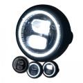 Přední světlo LED na moto 165mm černé