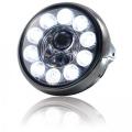 Přední světlo LED na moto 190mm chrom